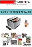 12 FOGLI A4: WATERSLIDE DECAL PAPER, CARTA PER DECALCOMANIA, STAMPA LASER, BASE CLEAR, NON NECESSITA DI COVER-COAT