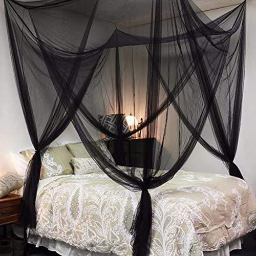 NO LOGO HWW-NET 190 * 210 * 240 cm Übergroße Praktische Moskitonetze Schwarz/Weiß/Beige Vier Eckpfosten Betthimmel Camping Moskitonetz (Color : Black)