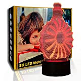 KangYD Botella de vino con luz nocturna 3D, lámpara LED de estado de ánimo, decoración de bar de oficina, A - Touch negra Base (7 colores), Niño Lámpara, 7 cambio de color, USB alimentado