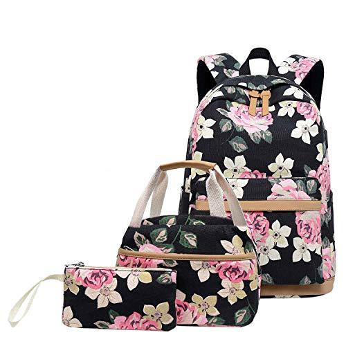 Neuleben Schulrucksack & Kühltasche & Geldbörse Rucksack Schulranzen mit USB Ladeanschluss Blumenmuster Schultaschen 3 Set für Damen Mädchen (Schwarz)