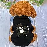 WANGSHI Ropa para Mascotas Marea Marca Suéter Invierno Pomerania Perro Pequeño Inglés Ropa para Gatos Cortos Perro Más Ropa De Terciopelo L (Busto 42) SKR Cat Sweater Negro