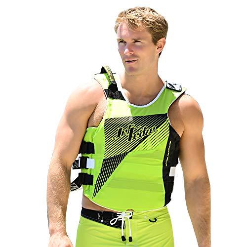Jettribe US Coast Guard Life Vest Hyper Series   Type 3 PFD   Side-Entry Jet Ski Vest (Green, S/M)