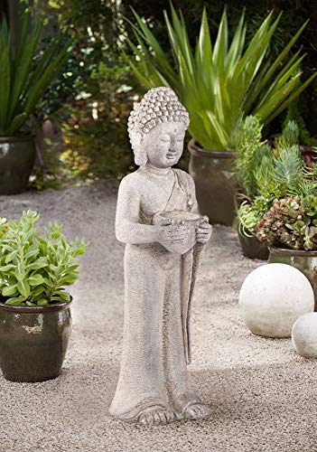 John Timberland Standing Buddha Asian Outdoor Statue 32' High Sculpture for Yard Garden Patio Deck Home Entryway Hallway