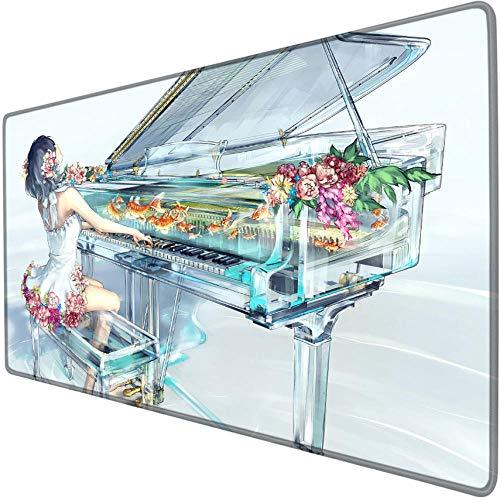 mauspad groß gaming Mädchen, welches das niedliche Sciencefiction-Cartoonspiel des Klaviers spielt Mausunterlage übergroße wasserdichte rutschfeste Randstreifenbildungs-Schreibtischauflage