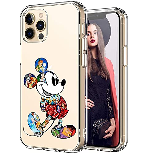 Cute Cartoon Phone Case for iPhone 12 Pro Max, Soft Clear TPU Rubber Silicone Protective Cover for iPhone 12 Pro Max 6.7 inch(Mickey Mouse)