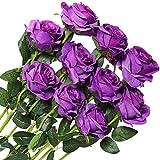 Veryhome 10 pièces Artificielle Roses Fleurs De Soie Faux Bouquets Floraux pour La Décoration De Mariage Maison Décoration De Fête d'anniversaire Jardin Décor (Pourpre - Roses épanouies)