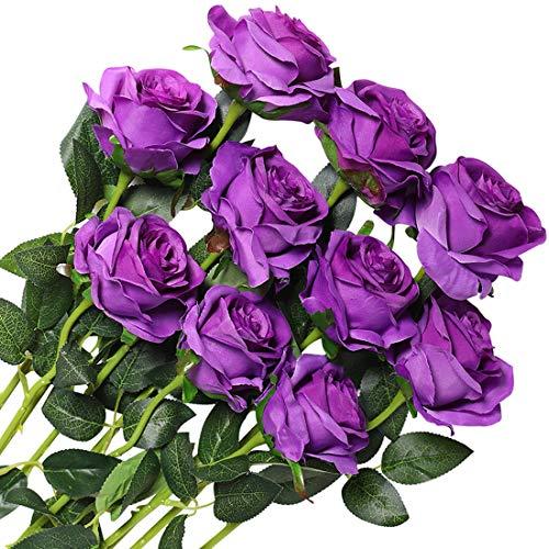Veryhome 10 Piezas Artificial Seda Rosa Flores Falsas Ramos de Flores para La Decoración de La Boda Home Birthday Party Arrangment Jardín Decoración (Púrpura, Rosas florecientes)