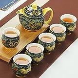 PPuujia Juego de té de cerámica china Kung Fu, taza de té de porcelana, tetera de dragón, tetera de kungfu té puer oolong ceremonia Teaware (color cian Dragon Set)