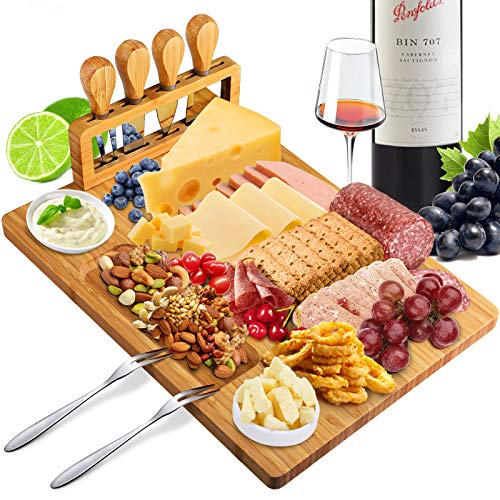 Xergur Bamboo Cheese Board Set - Charcuterie Board and Serving Meat Platter, Cheese Tray with 4 Stainless Steel Cheese Knives Cutting Board Platter, Ideal for Halloween, Wedding, Christmas Gifts