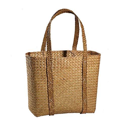 Y AKAGI Cesta de la compra, bolsa de playa, cesta de almacenamiento al aire libre, Color de césped natural, Large