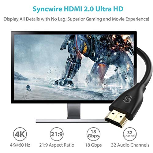 Syncwire HDMI Cable 6 ft HDMI 2.0 (4K@60 Hz) - [High Speed, Gold-Plated] HDMI to HDMI Cord, Supports 4K, UHD, FHD, 3D, Ethernet, Audio Return Channel for Fire TV/Apple TV/HDTV/Xbox/PS4/PS3
