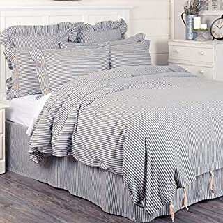 Piper Classics Farmhouse Ticking Stripe Duvet Cover Bedding, Navy Blue & Off-White, King 92x108, Comforter Cover w/Twill Ties, Soft Comfortable Farmhouse Bedroom Decor