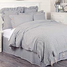 Piper Classics Farmhouse Ticking Stripe Duvet Cover Bedding, Navy Blue & Off-White, Queen 92x92, Comforter Cover w/Twill T...