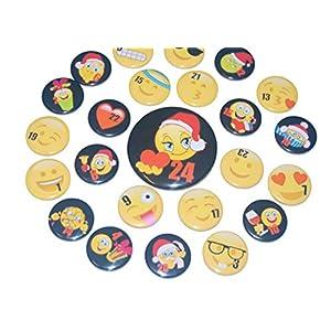 Adventskalenderzahlen Buttons Zahl für Adventskalender 24 Set Anstecker Pin 25mm Smileys Weihnachten