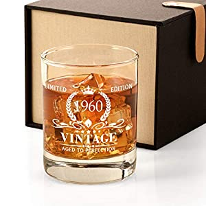 【Ideal Gift for 61st Birthday】Searching for the ideal gift for 61 birthday? Look no further! This classic and upscale whiskey gift set is ideal for all spirits enthusiasts. Natural linen gift box and unique personalized milestone 1960 whiskey glass w...