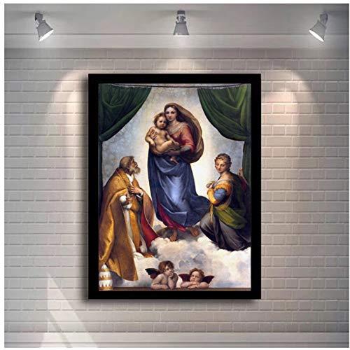 A&D Berühmte Gemälde Raphael Sixtinische Madonna Poster und Drucke Wandkunst Leinwand Gemälde Madonna von Jesus Bild an der Wand Dekor -70x100cm Kein Rahmen