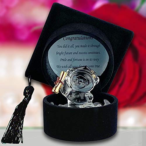 Graduation Teddy Gift Keepsake Glass Bear Ornament Congratulations Message Gift