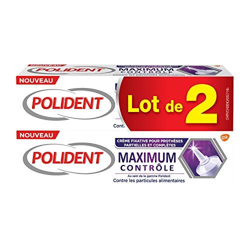 Polident Maximum Control Crema fijativa para prótesis dentales parciales y completas, 95 ml