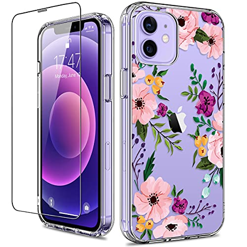 GiiKa for iPhone 12 Case, iPhone 12 Pro Case with Screen Protector, Clear Full Body Protective Floral Girls Women Shockproof Hard Case with TPU Bumper Cover Phone Case for iPhone 12, Small Flowers