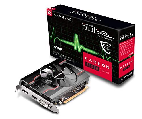 Sapphire 11268-21-20G Radeon Pulse RX 550 2GB GDDR5 64-bit HDMI / DVI-D / DP OC (UEFI) PCI-E Tarjeta gráfica