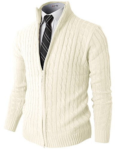 H2H Mens Slim Fit Full-Zip Kintted Cardigan Sweaters with Twist Patterned White US 2XL/Asia 3XL (KMOCAL032)