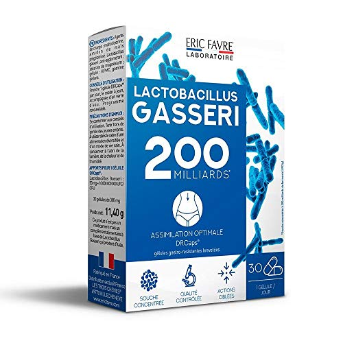 LACTOBACILLUS GASSERI - Naturel 200 milliards de Ferment - Hautement Dosé - L. Gasseri - Complexe Vivant - Gélules Végétales Gastro-Résistantes - Programme 30 J - Laboratoire Français Eric Favre