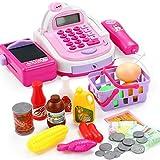 LVPY Supermarktkasse Spielzeug, Registrierkasse Spielkasse mit Scanner inkl. Münzen für Rollenspiel Kaufladenzubehör für Kinder