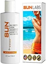 Sun Laboratories Tan Overnight Self Tanning Lotion 4 fl oz.Self Tanner - Natural Sunless Tanning Lotion, Body, Legs and Face for Bronzing and Golden Tan - Medium Sunless Bronzer (Package May Vary)