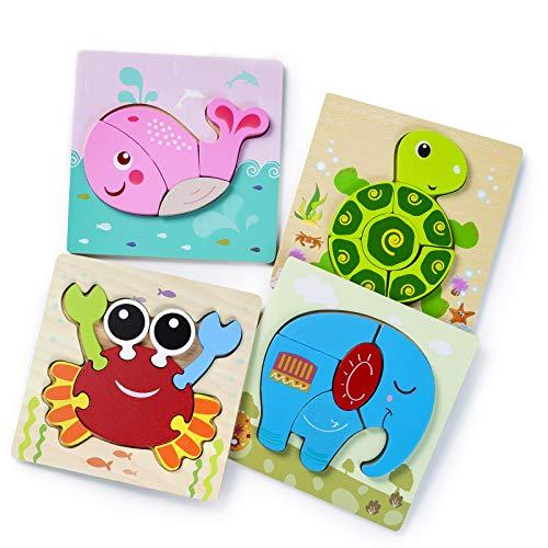 3D Kinder Holzpuzzle Steckpuzzle, MOOKLIN ROAM 4Pcs Tier Steckpuzzle Holz Montessori Spielzeug, Baby Lernspielzeug Pädagogisches Spiel, Weihnachten Geburtstag Geschenk für Jungen Mädchen 1 2 3 Jahre