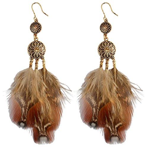 YAZILIND Mujeres Vintage Boho cuelgan los pendientes del gancho de la gota Ligero Pluma Cobre Retro Étnico personalizado oído declaración marrón