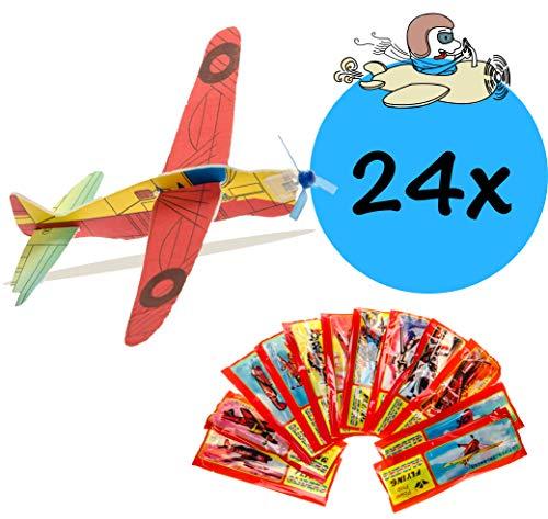 24x Styroporflieger|Set aus gemischten einzeln verpackten Gleitflugzeugen |Styroporgleiter Gleiter Flieger Wurfgleiter| ideal als Mitgebsel Mitbringsel Give aways für den Kindergeburtstag für Kinder