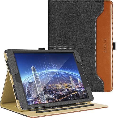 ZAEXAE Funda para iPad Air 2 de 9,7 pulgadas, 5ª generación 2018 y 2017, con soporte para lápiz de Apple, color negro y marrón