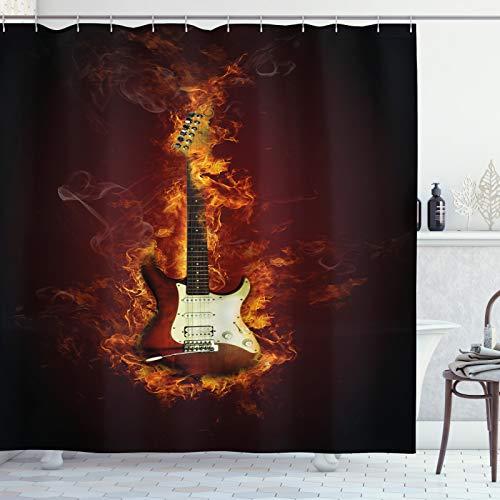 ABAKUHAUS Gitarre Duschvorhang, Instrument in Flammen, Leicht zu pflegener Stoff mit 12 Haken Wasserdicht Farbfest Bakterie Resistent, 175x180 cm, Maroon Orange Schwarz