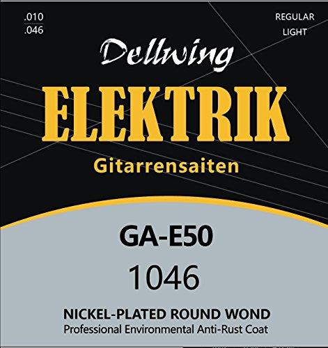 Dellwing Saiten E-Gitarre - Premium E-Gitarren Saiten aus Nickel - Inklusive 3 GRATIS Plektren - 6-Saiten Set