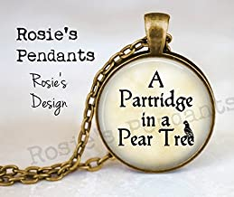 Partridge in a Pear Tree Pendant Necklace - Christmas Song Jewelry - Partridge Pear Tree Jewelry - 12 Days of Christmas