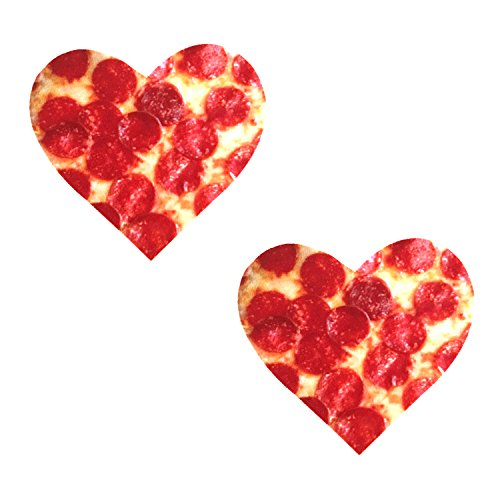 Neva Nude Pizza I Heart U Nipztix Pasties Nipple Covers for Festivals, Raves, Parties, Lingerie and More, Medical Grade Adhesive, Waterproof and Sweatproof, Made in USA