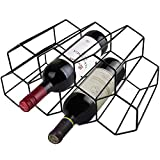Wine Holders Stands for Counter Rack Small Tabletop Black Modern Wire Cabinet Wine Rack Insert for Shelf Honeycomb Mini Cute Champagne Hexagon Metal Wine 9 Bottle Racks Small Space Countertop