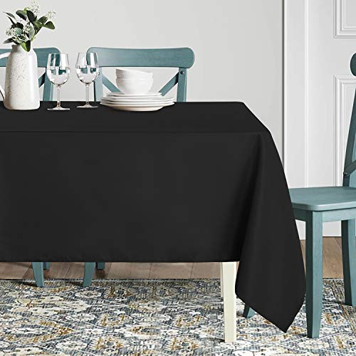 sancua Rectangle Tablecloth - 60 x 84 Inch - Stain and Wrinkle Resistant Washable Polyester Table Cloth, Decorative Fabric Table Cover for Dining Table, Buffet Parties and Camping, Black