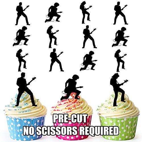 AK Giftshop PRE-CUT Gitaar Speler Silhouettes - Eetbare Cupcake Toppers/Cake Decoraties (Pak van 36)