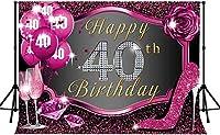 新しい第40誕生日おめでとう背景250×180センチメートル新しいビニールローズキラキラピンク写真背景バナー写真撮影小道具291