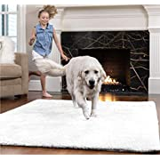 GORILLA GRIP Original Faux-Chinchilla Area Rug, 3x5 FT, Many Colors, Soft Cozy High Pile Washable Kids Carpet, Modern Rugs for Floor, Luxury Shaggy Carpets for Floors, Bed and Living Room, Pure White