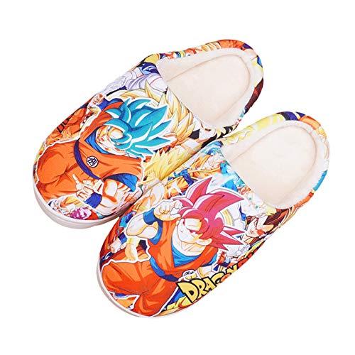 Son Goku Japanisch Cartoon Warm Hausschuhe zum Frau Männer Winter Warm Baumwolle Pantoffeln 3D Drucken Dragon Ball rutschfest Schuhe,Dragon Ball~300