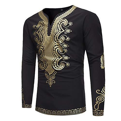WUSIKY Tshirt Herren Afrika Dashiki Hemd Herren Langarmshirt Slim Fit T Shirt Gold Print Top Bluse Oversize Oberteile Tshirts Männer Hemden (Schwarz, XL)