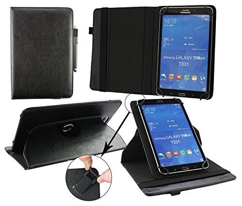 Emartbuy® Lenovo IdeaPad MIIX 300 8 Zoll Tablet Universal (7-8 Zoll) Schwarz PrämiePULeder360GradrotierendeStandFolioGeldbörseTascheHülle + Schwarz Eingabestift