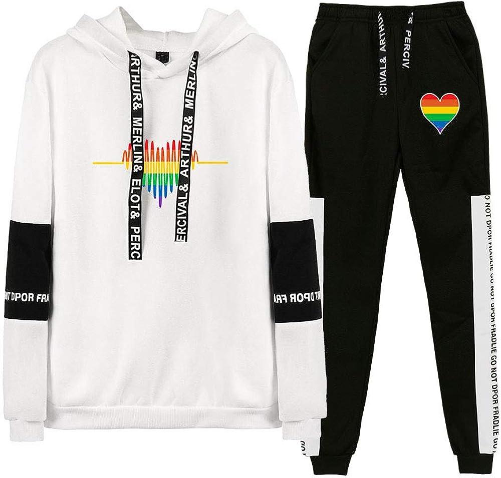 JLTPH Unisex Trainingsanzug Love is Love LGBT Gay Lesbian Pride Regenbogen Drucken Sweatshirts Lange Sweathose 2PCS Sportsuit Langarm Pullover Kapuzenpullover und Hose Hip Hop Streetwear