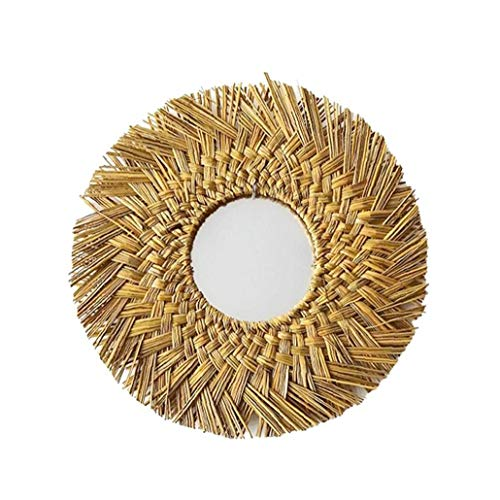 Odoukey Espejo de Pared Espejo Macrames Tejido Paja Espejo Redondo de la Pared de Colgante Espejo Natural para Sala de Estar Dormitorio Macrame Colgar de la Pared de la decoración