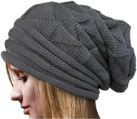 Fashion Ruched Knitted Skully Hat Women Girls Crochet Warm Cozy Slouchy Beanie Gray
