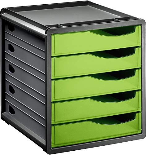 Rotho Spacemaker Schubladenbox / Bürobox mit 5 Schüben, Kunststoff (PS) BPA-frei, grün/schwarz, 33,5 x 28,5 x 32,0 cm