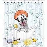 Bonsai Tree French Bulldog Shower Curtain, Waterproof Animal Dog Bathroom Curtains, Dog Taking a Shower White Fabric Shower Curtains Hooks for Bathroom Decorations, 72