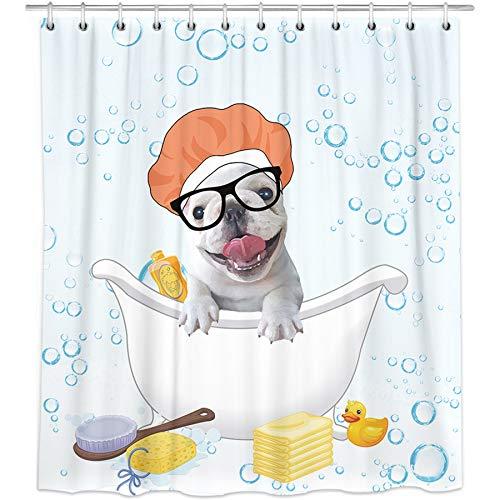 Bonsai Tree French Bulldog Shower Curtain, Waterproof Animal Dog Bathroom Curtains, Dog Taking a Shower White Fabric Shower Curtains Hooks for Bathroom Decorations, 72'x72'